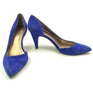 """BCBG Suede Heels Stiletto Blue 3 1/4"""" Heel Slip On"""